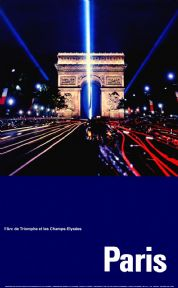French Travel poster, L'Arc de Triomphe at night, Paris, France
